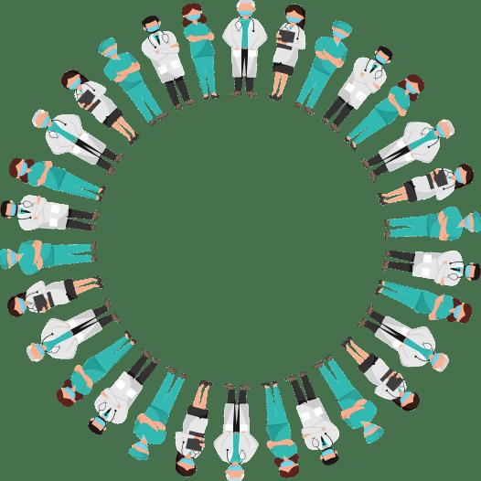 Los trabajadores de la salud de pie en un círculo